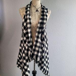 ACE Black and White Sleeveless Cardigan Vest